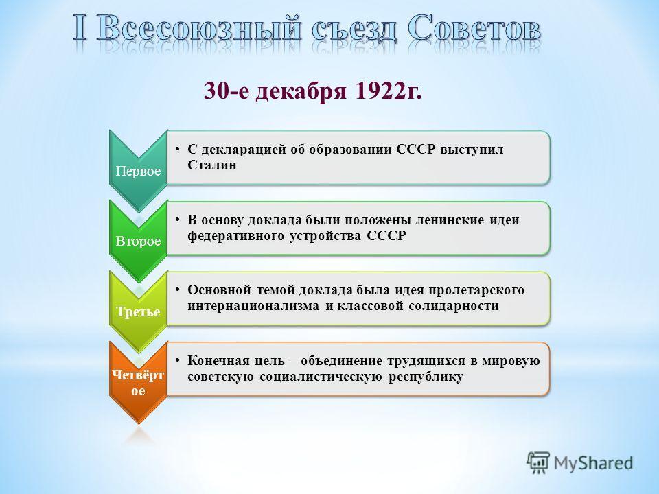 30-е декабря 1922 г. Первое С декларацией об образовании СССР выступил Сталин Второе В основу доклада были положены ленинские идеи федеративного устройства СССР Третье Основной темой доклада была идея пролетарского интернационализма и классовой солид