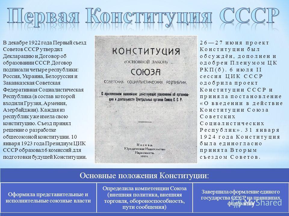Основные положения Конституции: Оформила представительные и исполнительные союзные власти Определила компетенции Союза (внешняя политика, внешняя торговля, обороноспособность, пути сообщения) Завершила оформление единого государства СССР на принципах