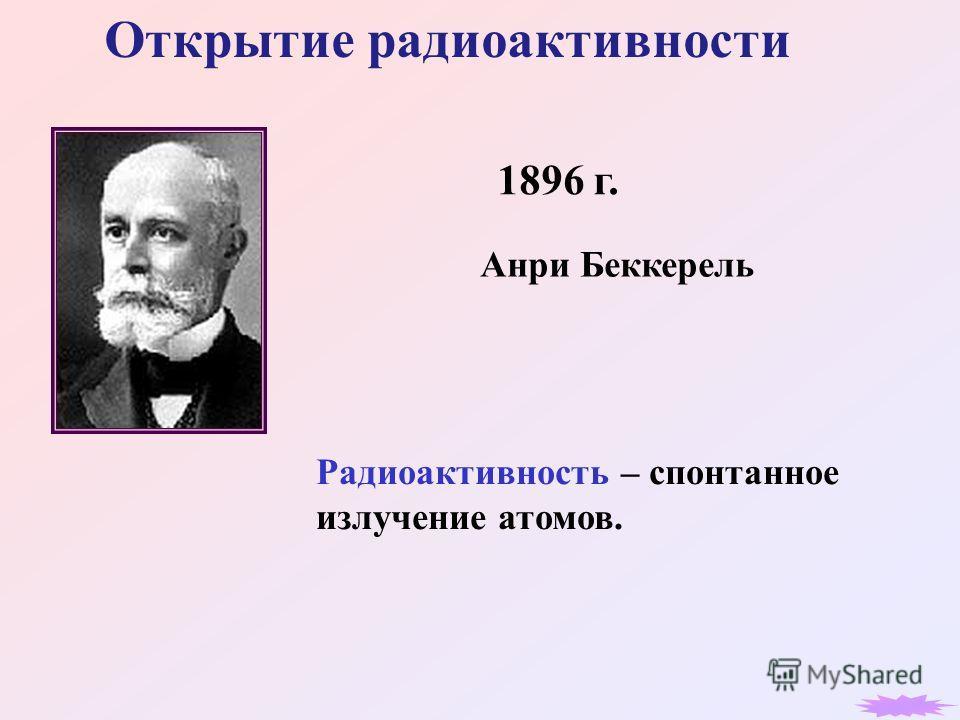 Открытие радиоактивности 1896 г. Анри Беккерель Радиоактивность – спонтанное излучение атомов.