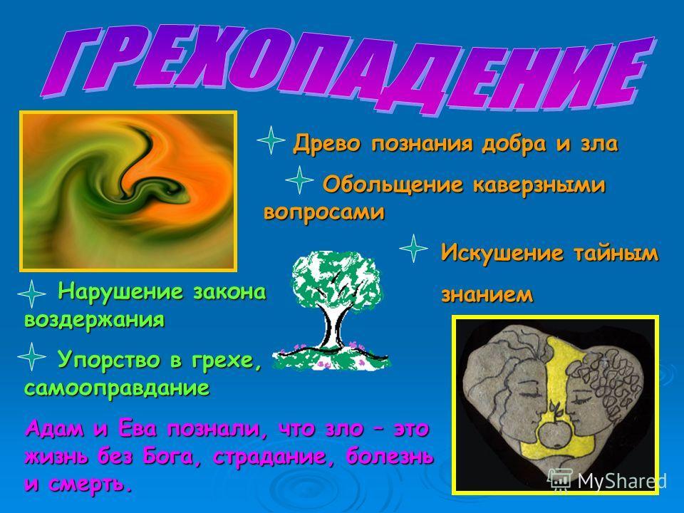 Древо познания добра и зла Древо познания добра и зла Обольщение каверзными вопросами Обольщение каверзными вопросами Искушение тайным Искушение тайным знанием знанием Нарушение закона воздержания Нарушение закона воздержания Упорство в грехе, самооп