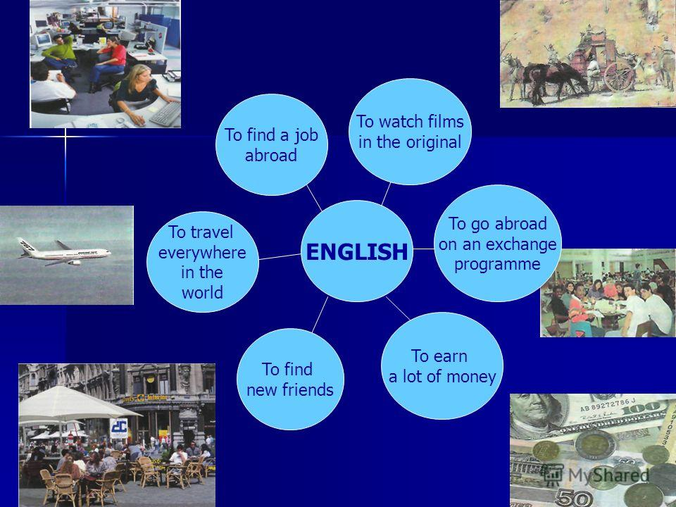 ENGLISH To find new friends To earn a lot of money To watch films in the original To find a job abroad To travel everywhere in the world To go abroad on an exchange programme