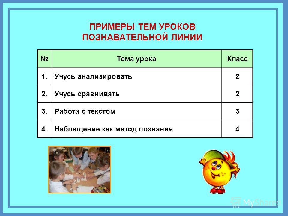 С-32 Тема урока Класс 1. Учусь анализировать 2 2. Учусь сравнивать 2 3. Работа с текстом 3 4. Наблюдение как метод познания 4 ПРИМЕРЫ ТЕМ УРОКОВ ПОЗНАВАТЕЛЬНОЙ ЛИНИИ