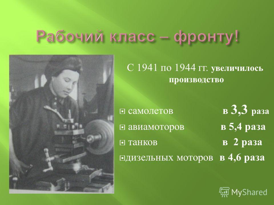 С 1941 по 1944 гг. увеличилось производство самолетов в 3,3 раза авиамоторов в 5,4 раза танков в 2 раза дизельных моторов в 4,6 раза