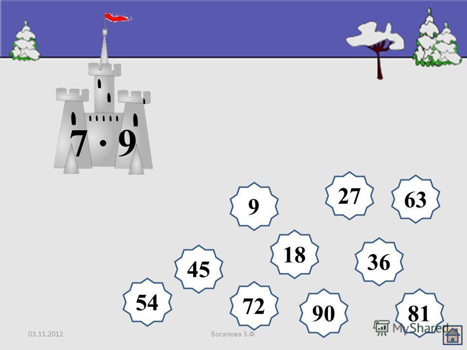 03.11.2012Богапова З.Ф. 18 9 27 36 45 54 63 72 8190 7 · 9