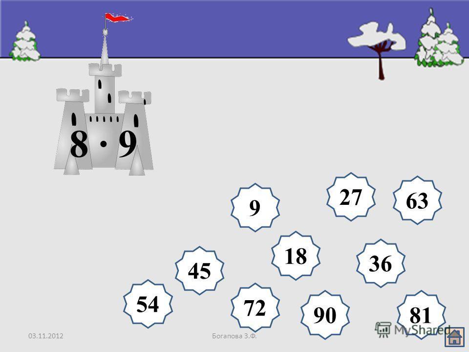 03.11.2012Богапова З.Ф. 18 9 27 36 45 54 63 72 8190 8 · 9