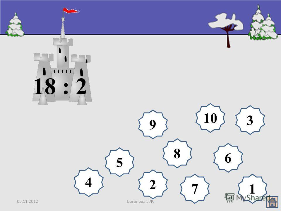 03.11.2012Богапова З.Ф. 8 9 10 6 5 4 3 2 17 18 : 2
