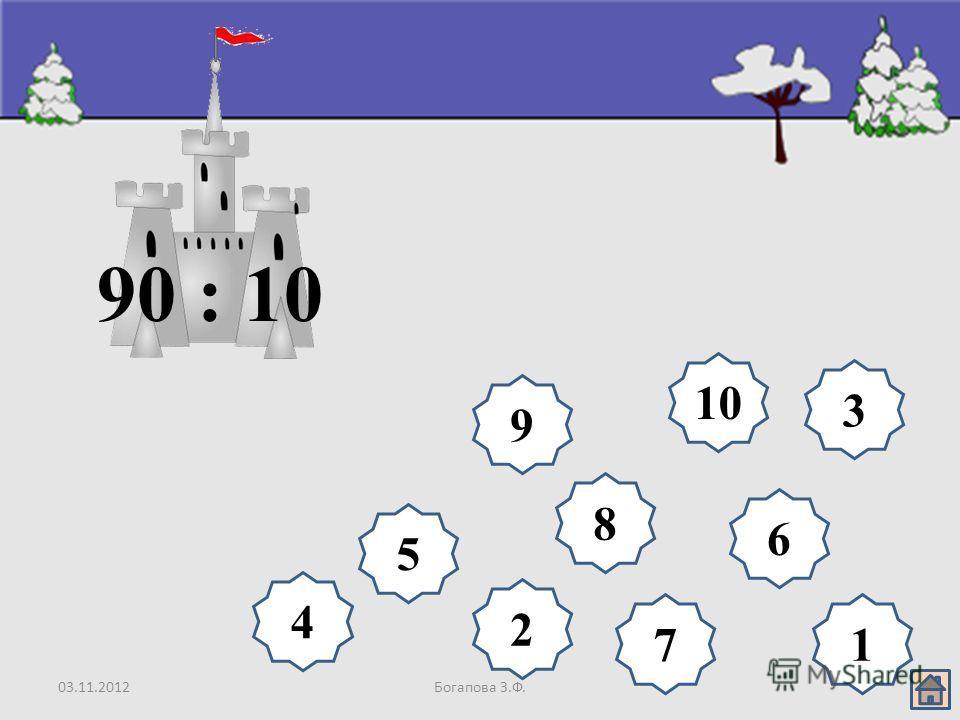 03.11.2012Богапова З.Ф. 8 9 10 6 5 4 3 2 17 90 : 10