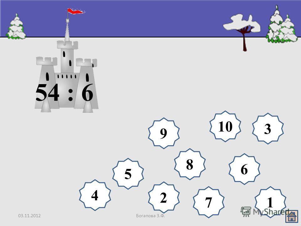 03.11.2012Богапова З.Ф. 8 9 10 6 5 4 3 2 17 54 : 6