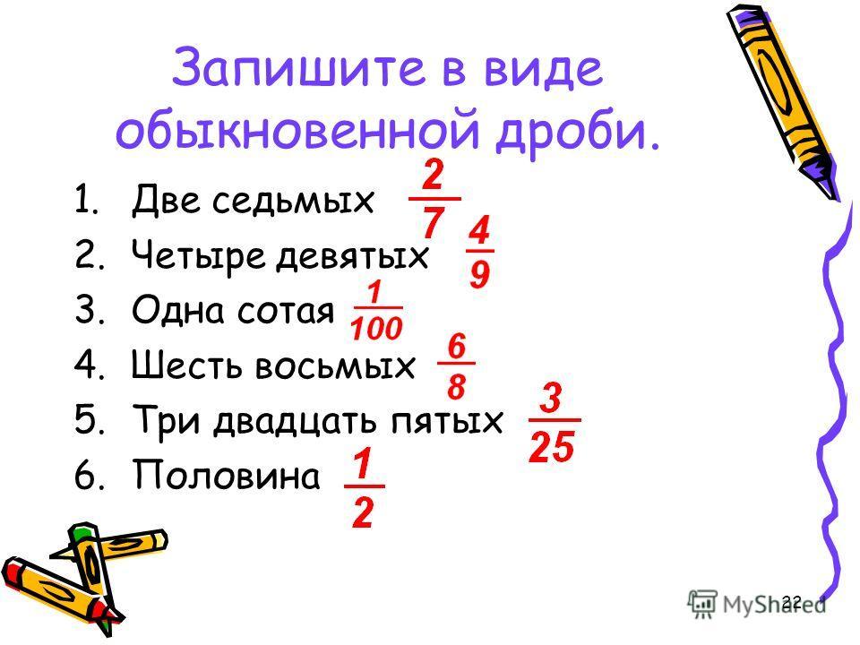 22 Запишите в виде обыкновенной дроби. 1. Две седьмых 2. Четыре девятых 3. Одна сотая 4. Шесть восьмых 5. Три двадцать пятых 6.Половина