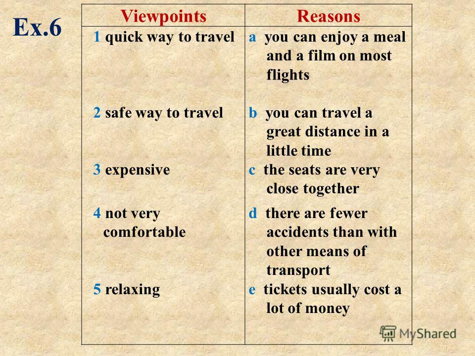 ViewpointsReasons 1 quick way to travela you can enjoy a meal and a film on most flights 2 safe way to travelb you can travel a great distance in a little time 3 expensivec the seats are very close together 4 not very comfortable 5 relaxing d there a