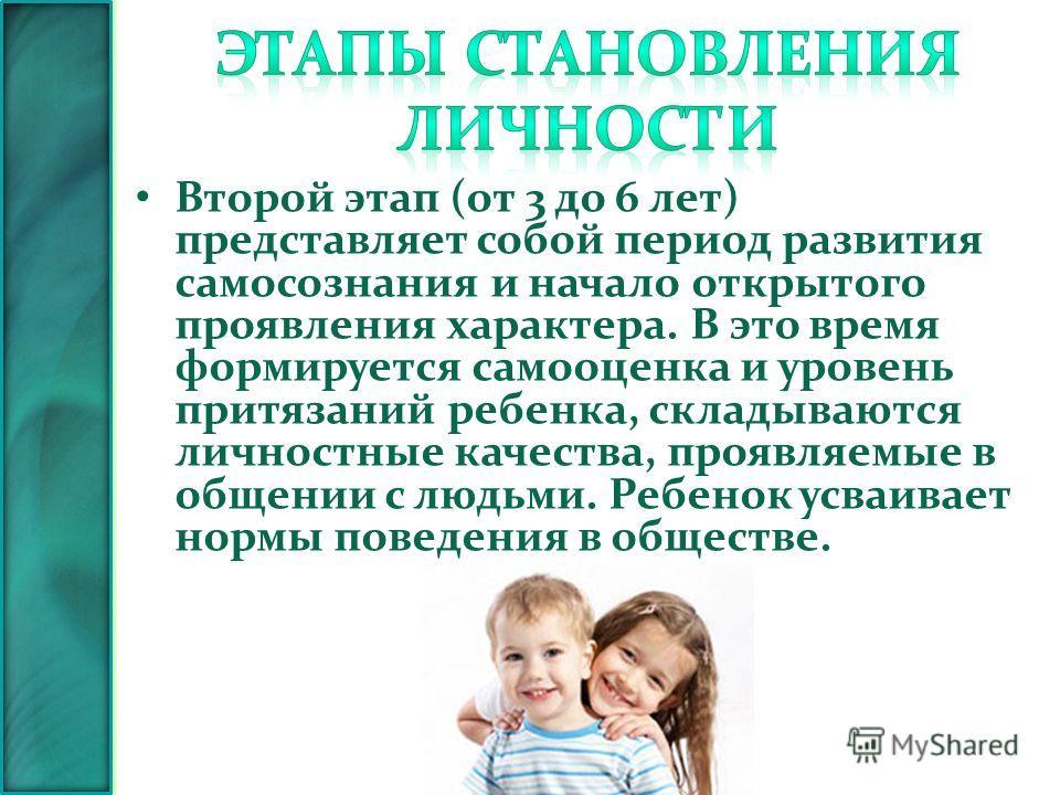 Второй этап (от 3 до 6 лет) представляет собой период развития самосознания и начало открытого проявления характера. В это время формируется самооценка и уровень притязаний ребенка, складываются личностные качества, проявляемые в общении с людьми. Ре