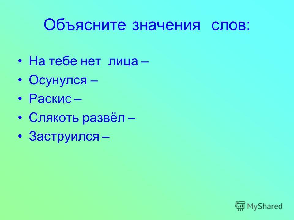 Объясните значения слов: На тебе нет лица – Осунулся – Раскис – Слякоть развёл – Заструился –