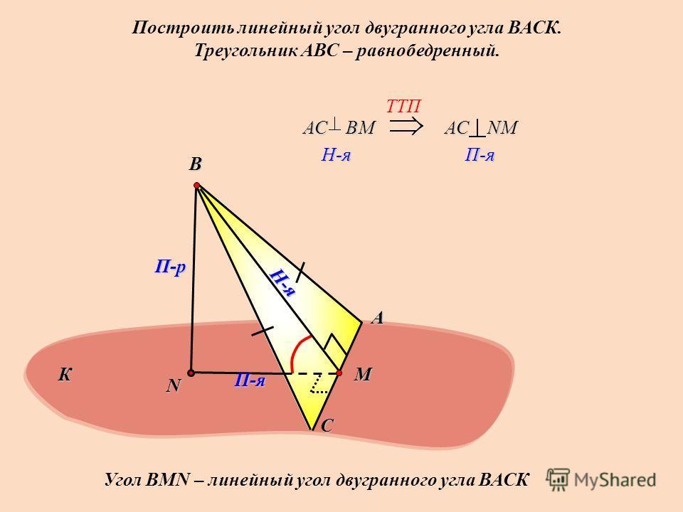Построить линейный угол двугранного угла ВАСК. Треугольник АВС – равнобедренный. А С В N П-р Н-я П-я TTП АС ВМ H-я H-я АС NМ П-я П-я Угол ВMN – линейный угол двугранного угла ВАСК К M
