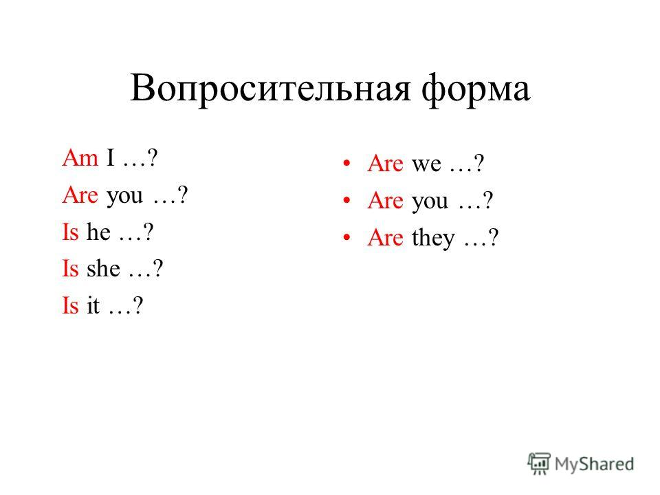 Вопросительная форма Am I …? Are you …? Is he …? Is she …? Is it …? Are we …? Are you …? Are they …?