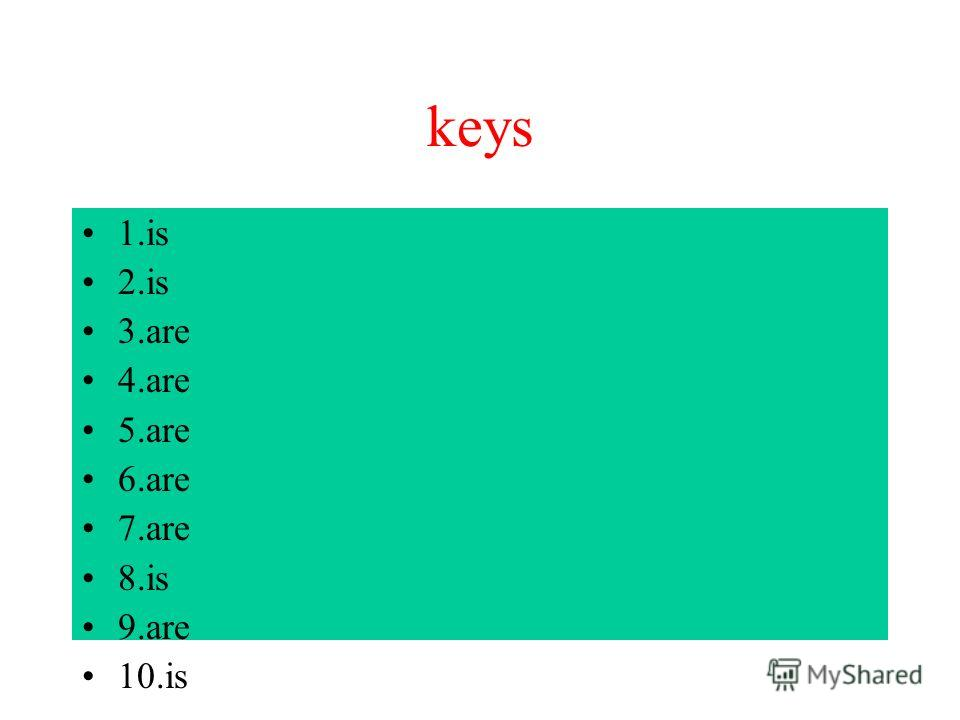 keys 1. is 2. is 3. are 4. are 5. are 6. are 7. are 8. is 9. are 10.is