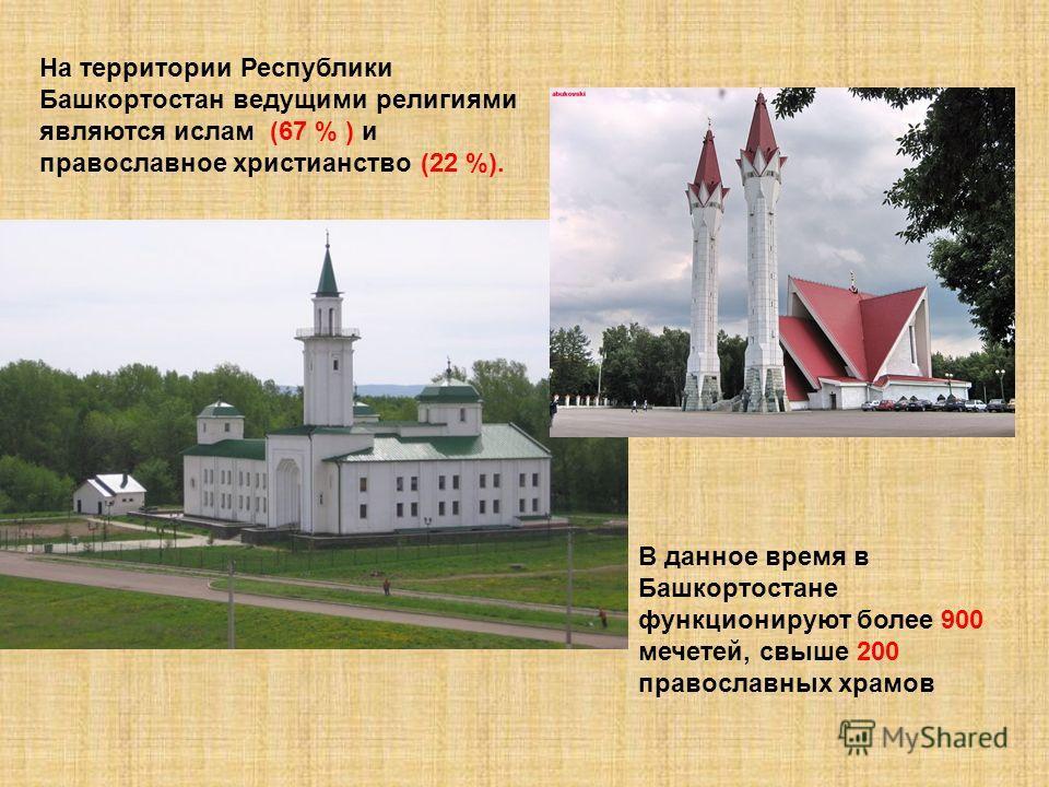 На территории Республики Башкортостан ведущими религиями являются ислам (67 % ) и православное христианство (22 %). В данное время в Башкортостане функционируют более 900 мечетей, свыше 200 православных храмов