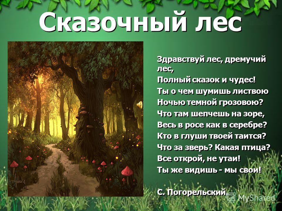 Сказочный лес Здравствуй лес, дремучий лес, Полный сказок и чудес! Ты о чем шумишь листвою Ночью темной грозовою? Что там шепчешь на зоре, Весь в росе как в серебре? Кто в глуши твоей таится? Что за зверь? Какая птица? Все открой, не утаи! Ты же види