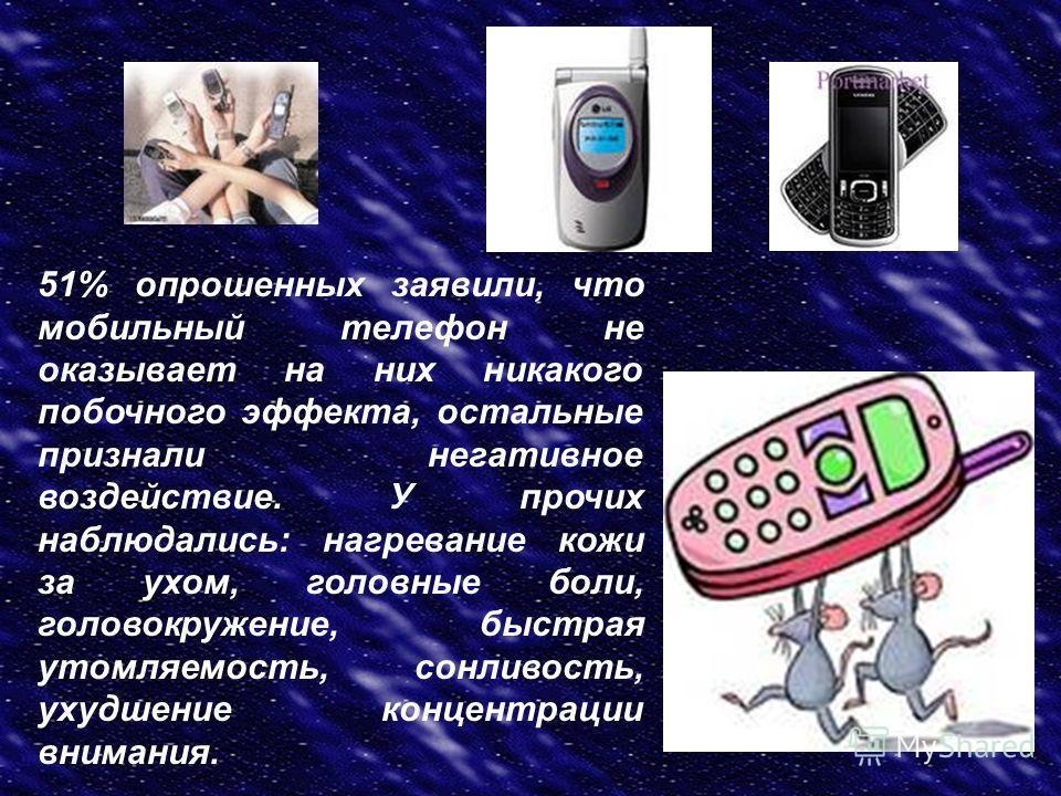 51% опрошенных заявили, что мобильный телефон не оказывает на них никакого побочного эффекта, остальные признали негативное воздействие. У прочих наблюдались: нагревание кожи за ухом, головные боли, головокружение, быстрая утомляемость, сонливость, у