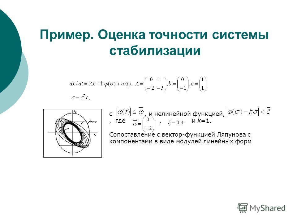 Пример. Оценка точности системы стабилизации с, и нелинейной функцией,, где, и k=1. Сопоставление с вектор-функцией Ляпунова с компонентами в виде модулей линейных форм