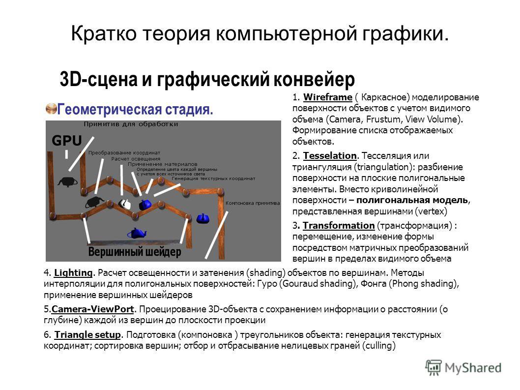 3D-сцена и графический конвейер Геометрическая стадия. 1. Wireframe ( Каркасное) моделирование поверхности объектов с учетом видимого объема (Camera, Frustum, View Volume). Формирование списка отображаемых объектов. 2. Tesselation. Тесселяция или три