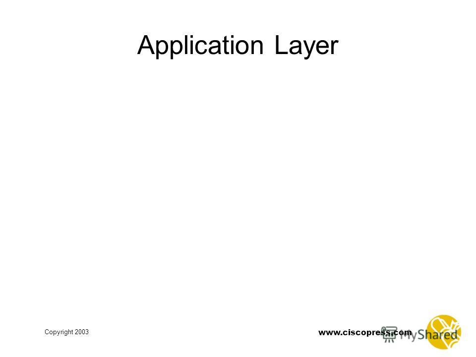 www.ciscopress.com Copyright 2003 Application Layer