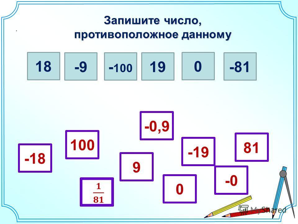 Запишите число, противоположное данному. 18 -9- 100 19 0 -81 -18 81 0 -19 100 9 -0 -0,9