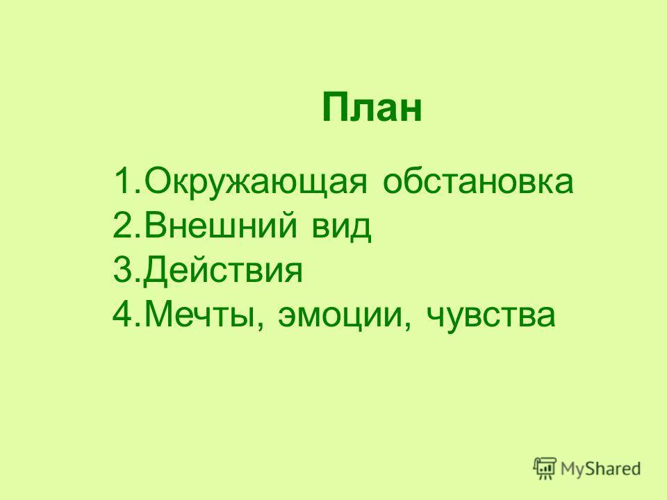 1. Окружающая обстановка 2. Внешний вид 3. Действия 4.Мечты, эмоции, чувства План