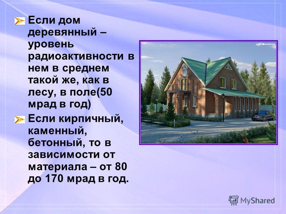 Если дом деревянный – уровень радиоактивности в нем в среднем такой же, как в лесу, в поле(50 мрад в год) Если кирпичный, каменный, бетонный, то в зависимости от материала – от 80 до 170 мрад в год.