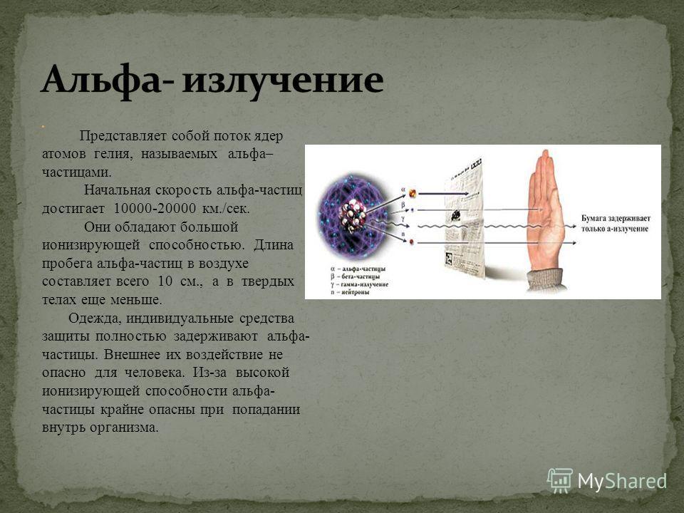 Представляет собой поток ядер атомов гелия, называемых альфа– частицами. Начальная скорость альфа-частиц достигает 10000-20000 км./сек. Они обладают большой ионизирующей способностью. Длина пробега альфа-частиц в воздухе составляет всего 10 см., а в