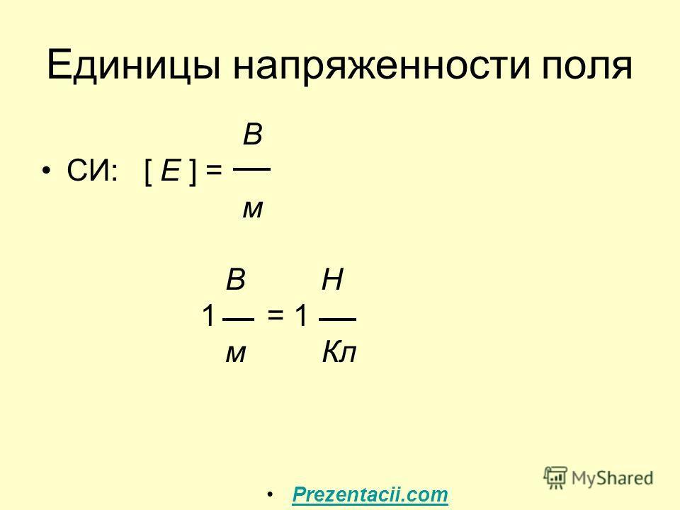 Единицы напряженности поля В СИ: [ E ] = м В Н 1 = 1 м Кл Prezentacii.com