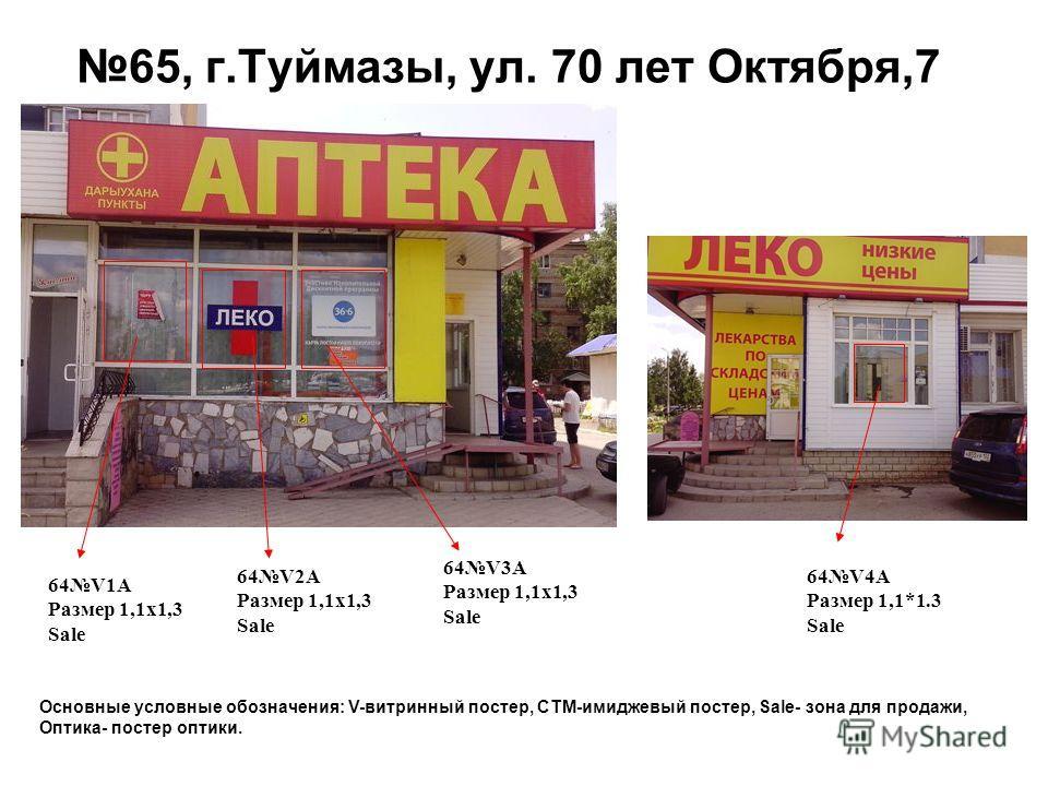 65, г.Туймазы, ул. 70 лет Октября,7 64V1A Размер 1,1 х 1,3 Sale 64V2A Размер 1,1 х 1,3 Sale 64V3A Размер 1,1 х 1,3 Sale 64V4A Размер 1,1*1.3 Sale Основные условные обозначения: V-витринный постер, СТМ-имиджевый постер, Sale- зона для продажи, Оптика-