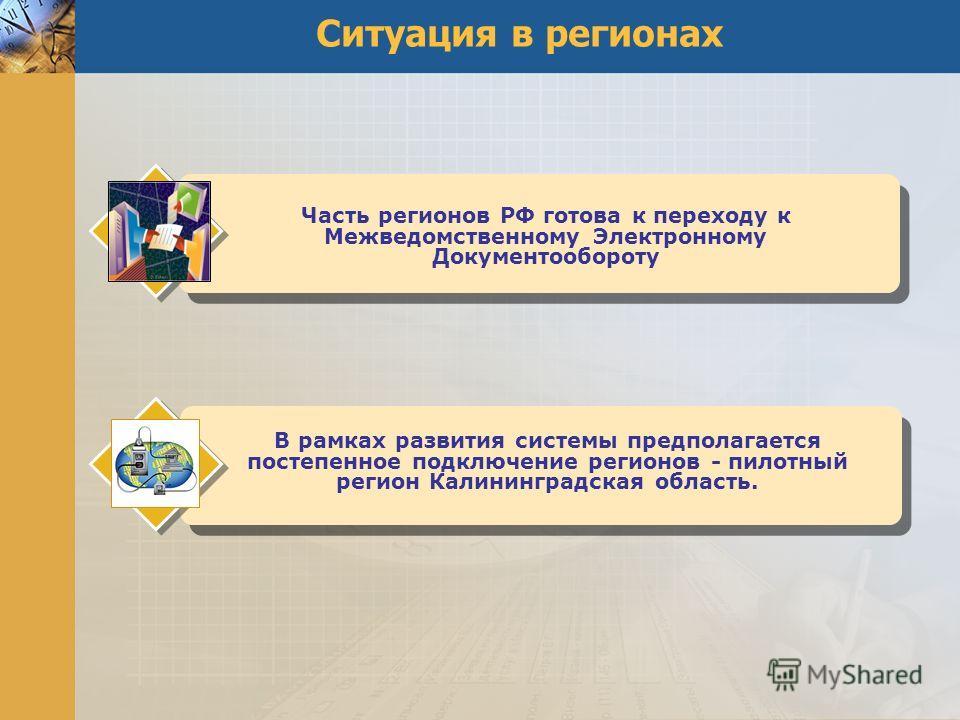 Ситуация в регионах Часть регионов РФ готова к переходу к Межведомственному Электронному Документообороту В рамках развития системы предполагается постепенное подключение регионов - пилотный регион Калининградская область.