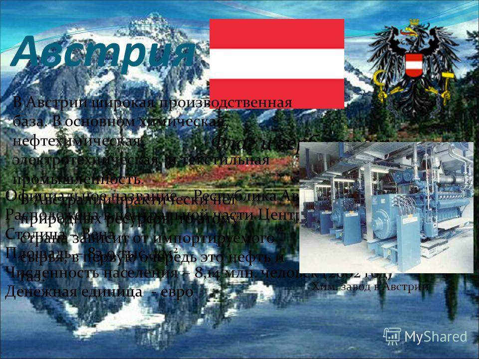 Австрия Флаг и герб страны Официальное название – Республика Австрия Расположена в центральной части Центральной Европы Столица – Вена Площадь – 83,9 тыс. км 2 Численность населения – 8,14 млн. человек (2002 год) Денежная единица - евро В Австрии шир