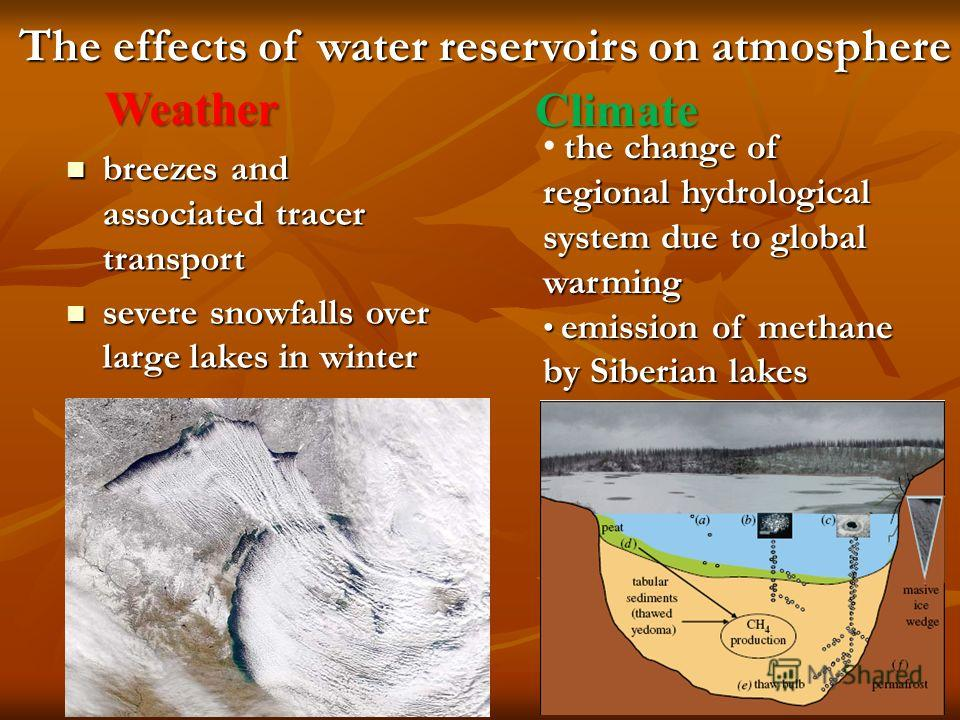 The effects of water reservoirs on atmosphere breezes and associated tracer transport breezes and associated tracer transport severe snowfalls over large lakes in winter severe snowfalls over large lakes in winter Weather Climate the change of region