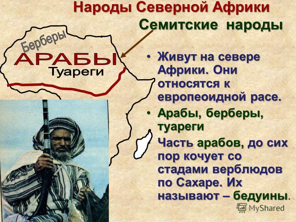 Народы Северной Африки Семитские народы Народы Северной Африки Семитские народы Живут на севере Африки. Они относятся к европеоидной расе.Живут на севере Африки. Они относятся к европеоидной расе. Арабы, берберы, туареги Арабы, берберы, туареги Часть