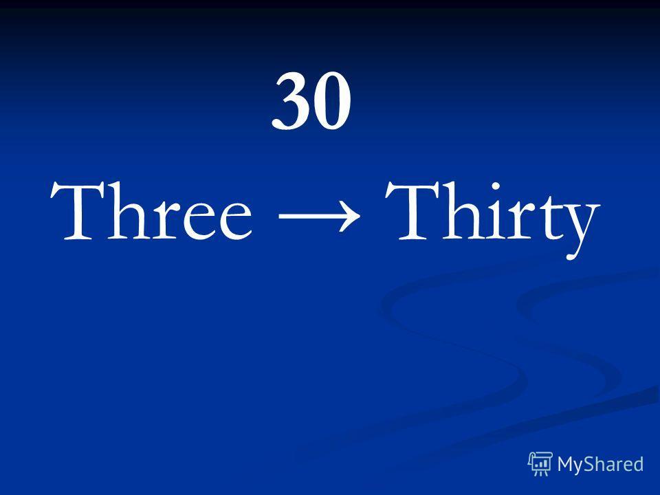 30 Three Thirty
