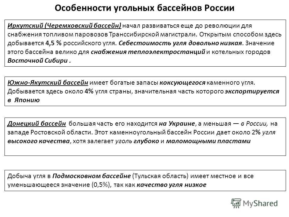 Особенности угольных бассейнов России Иркутский (Черемховский бассейн) начал развиваться еще до революции для снабжения топливом паровозов Транссибирской магистрали. Открытым способом здесь добывается 4,5 % российского угля. Себестоимость угля доволь