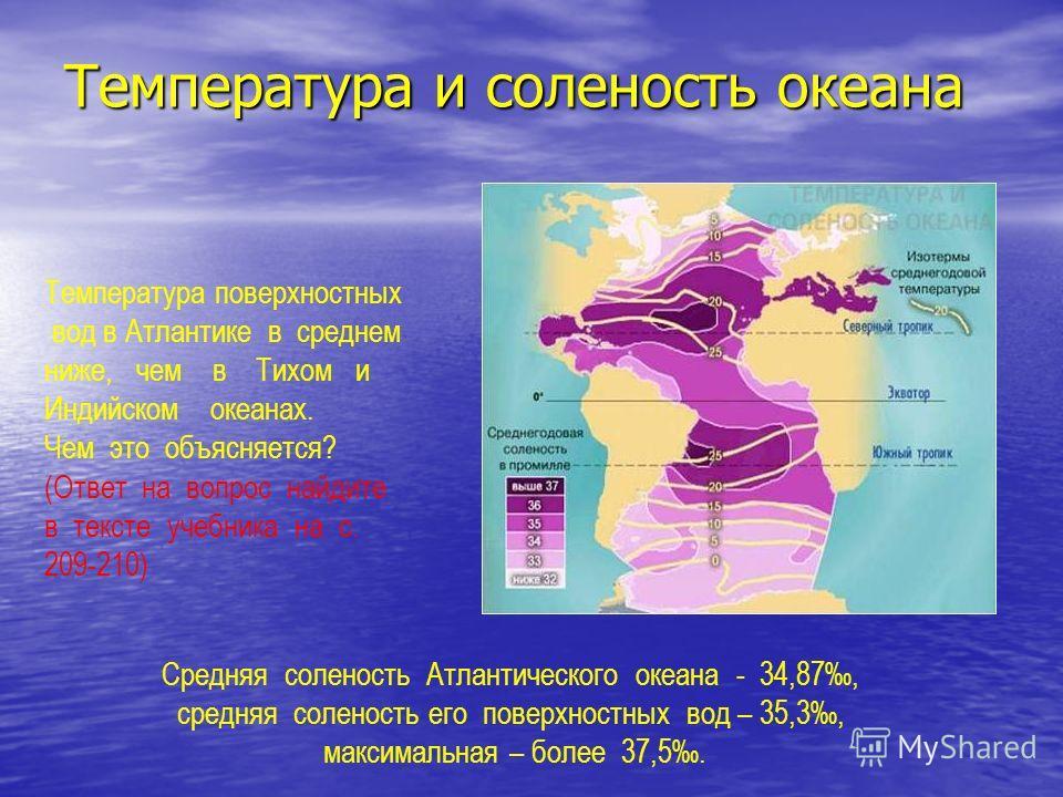 Температура и соленость океана Средняя соленость Атлантического океана - 34,87, средняя соленость его поверхностных вод – 35,3, максимальная – более 37,5. Температура поверхностных вод в Атлантике в среднем ниже, чем в Тихом и Индийском океанах. Чем
