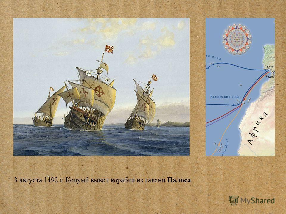 3 августа 1492 г. Колумб вывел корабли из гавани Палоса.