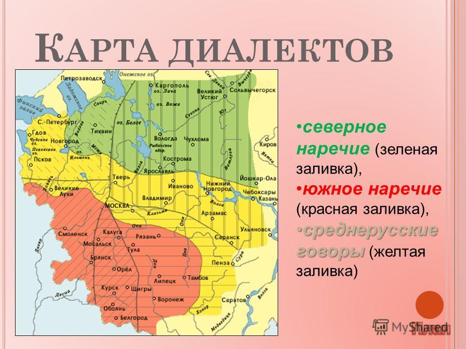 К АРТА ДИАЛЕКТОВ северное наречие (зеленая заливка), южное наречие (красная заливка), среднерусские говоры среднерусские говоры (желтая заливка)