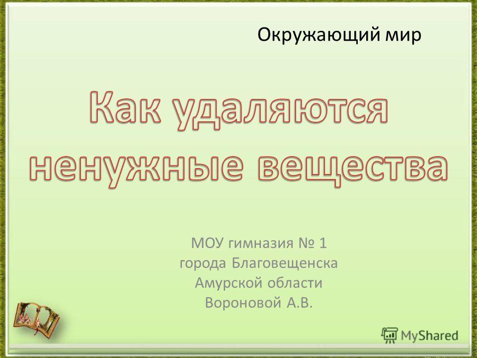 Окружающий мир МОУ гимназия 1 города Благовещенска Амурской области Вороновой А.В.