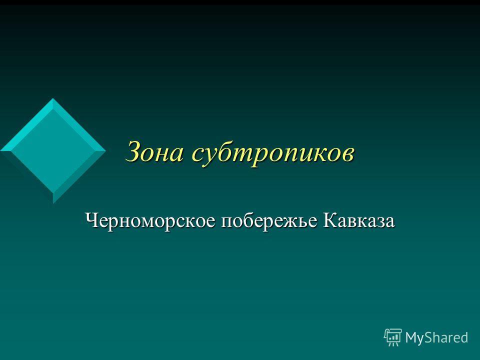 Зона субтропиков Зона субтропиков Черноморское побережье Кавказа