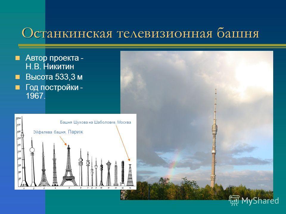 Останкинская телевизионная башня Автор проекта - Н.В. Никитин Высота 533,3 м Год постройки - 1967. Эйфелева башня, Париж Башня Шухова на Шаболовке, Москва