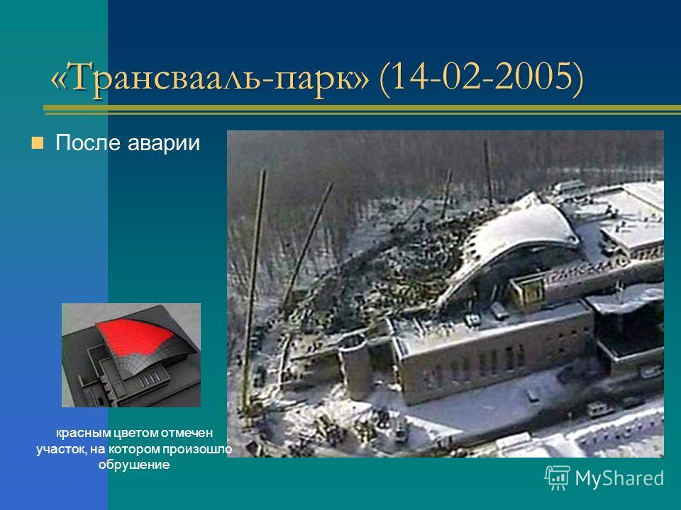 «Трансвааль-парк» (14-02-2005) После аварии красным цветом отмечен участок, на котором произошло обрушение