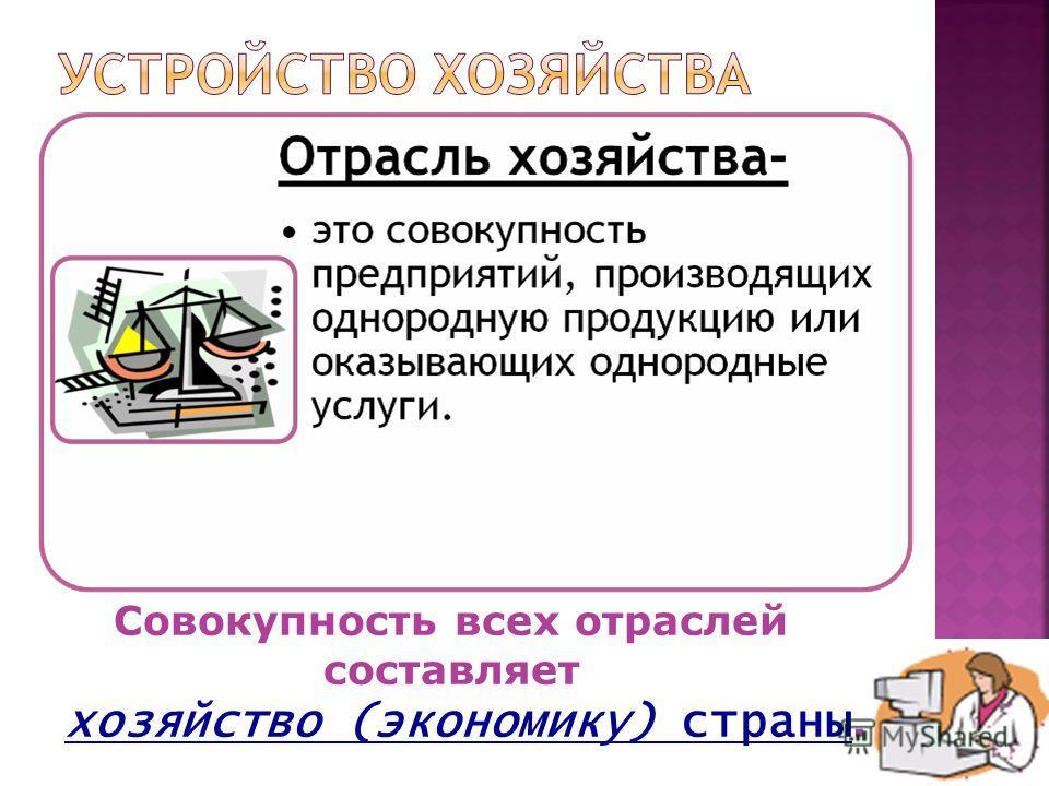 Совокупность всех отраслей составляет хозяйство (экономику) страны.