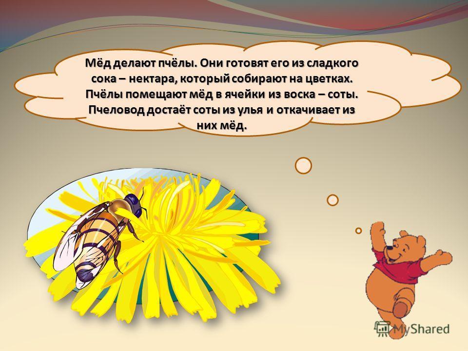 Мёд делают пчёлы. Они готовят его из сладкого сока – нектара, который собирают на цветках. Пчёлы помещают мёд в ячейки из воска – соты. Пчеловод достаёт соты из улья и откачивает из них мёд.
