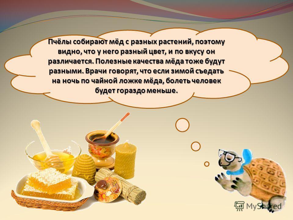 Пчёлы собирают мёд с разных растений, поэтому видно, что у него разный цвет, и по вкусу он различается. Полезные качества мёда тоже будут разными. Врачи говорят, что если зимой съедать на ночь по чайной ложке мёда, болеть человек будет гораздо меньше