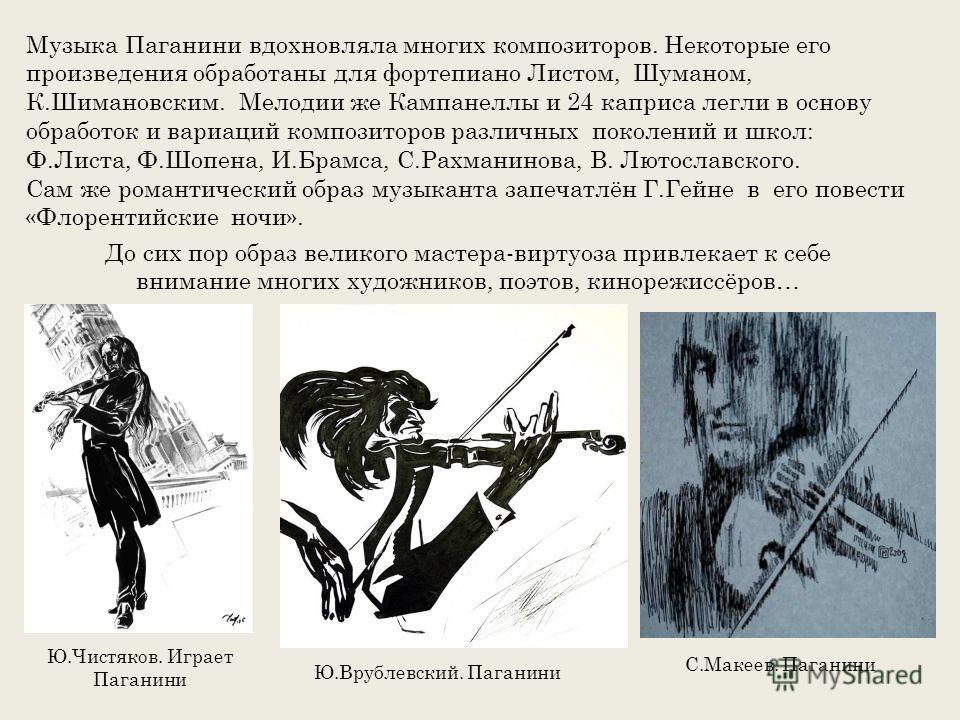Музыка Паганини вдохновляла многих композиторов. Некоторые его произведения обработаны для фортепиано Листом, Шуманом, К.Шимановским. Мелодии же Кампанеллы и 24 каприса легли в основу обработок и вариаций композиторов различных поколений и школ: Ф.Ли