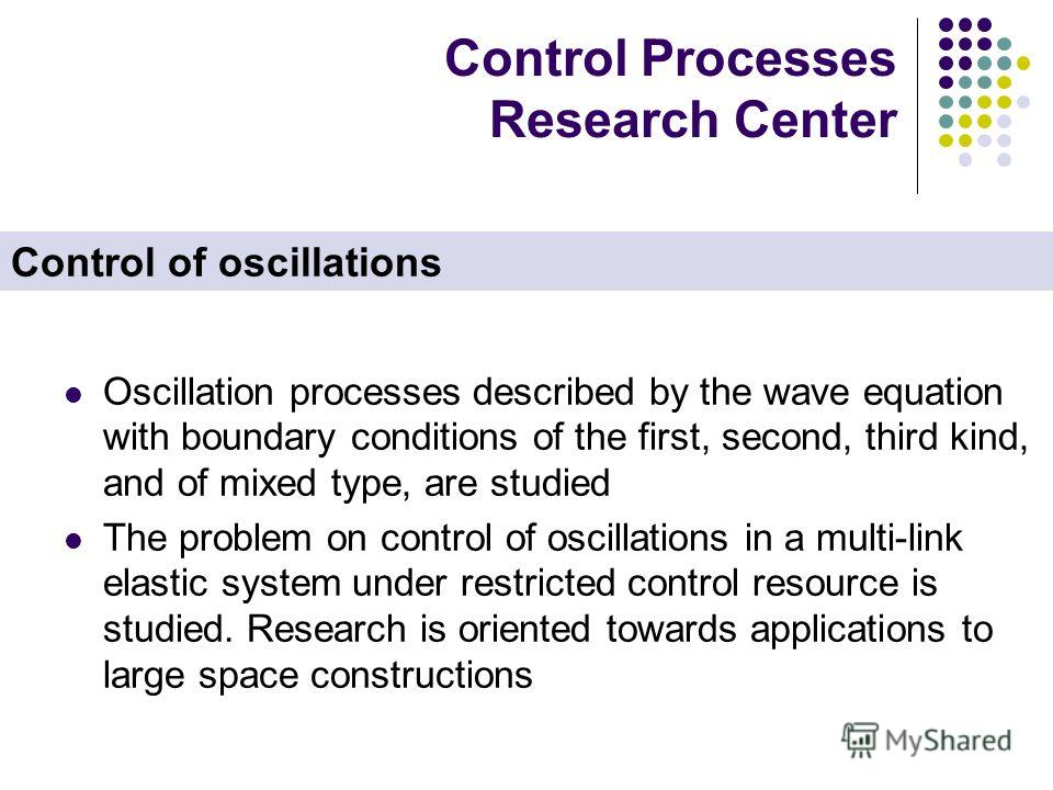 Control Processes Research Center Oscillation processes described by the wave equation with boundary conditions of the first, second, third kind, and of mixed type, are studied The problem on control of oscillations in a multi-link elastic system und