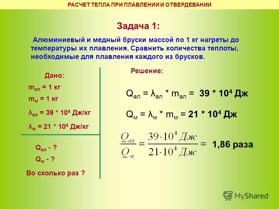 РАСЧЕТ ТЕПЛА ПРИ ПЛАВЛЕНИИ И ОТВЕРДЕВАНИИ Задача 1: Алюминиевый и медный бруски массой по 1 кг нагреты до температуры их плавления. Сравнить количества теплоты, необходимые для плавления каждого из брусков. Дано: m ал = 1 кг m м = 1 кг λ ал = 39 * 10